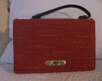 Orange tweed vintage purse