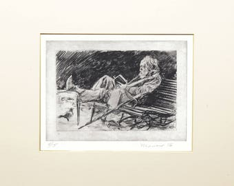 "Matted&Signed Original Print (intaglio - etching): ""Reading"" 5x7"" 100% cotton paper by Onelio Marrero"