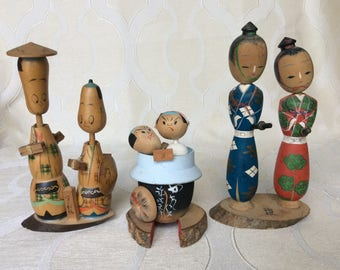 3 Vintage Japanese Wooden Figurines of Couples, Two are Bobble Heads, Kokeshi?