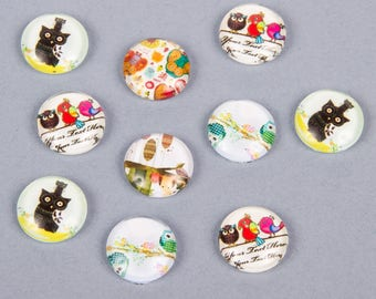 20 cabochons 12mm assorted owls theme and owls