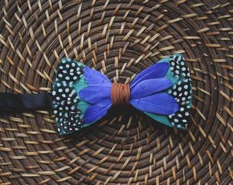 Men's feather bow tie