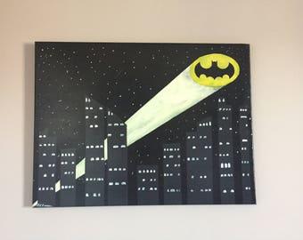 Bat Signal - glow in the dark-18x24-paninting