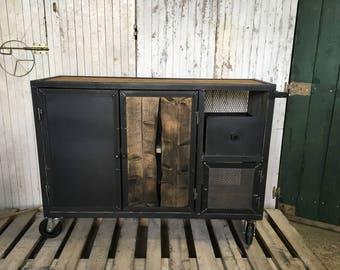 Industrial steel and wood skateboard furniture