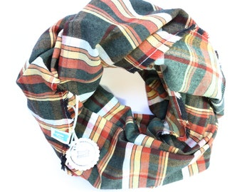 Cotton Flannel Loop Scarf green brown checkered, 100% cotton