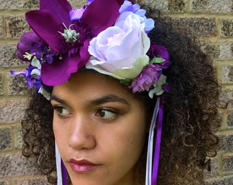 Lavender and Rose Purple Flower / Floral Crown. Festival / Wedding Headband