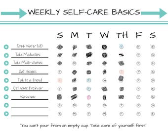 D.I.Y Weekly Self-Care Basics Chart (PRINTABLE - INSTANT DOWNLOAD): Self Care • Radical Self Love • Spoonie • Mental Health Habit Tracker