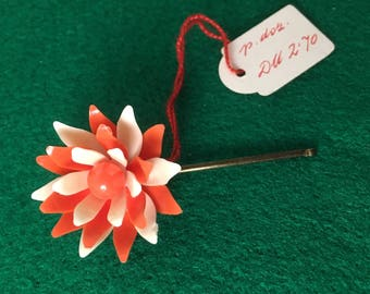 1950s Celluloid Flower Hair Slide Hair Pin Red and White