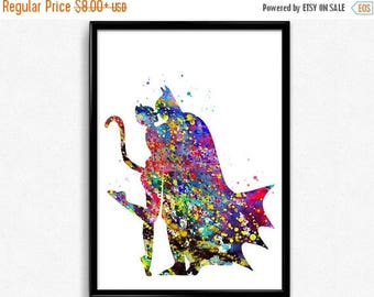 Batman and Catwoman, Superhero, Colorful Watercolor, Poster, Room Decor, gift, print, wall art (236)