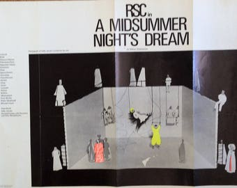 A Midsummer Nights Dream original poster of RSC performance circa 1971