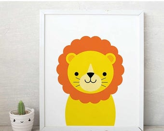Lion print, smile lion wall art, lions poster, lion kids art, lion kids poster,nursery decor, nursery art, baby room decor, playroom decor