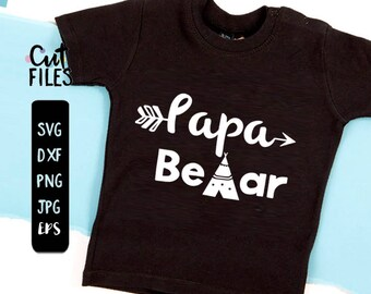PAPA Bear svg, Daddy SVG, Dad File Silhouette Cut File Cricut Clipart Print Design Template Vinyl wall decor sticker transfer Shirt Design