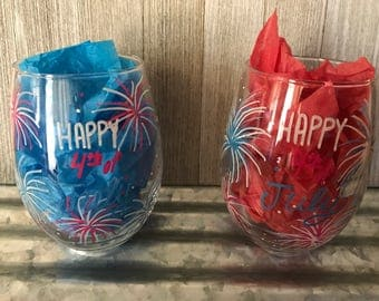 Happy Fourth of July Fireworks Hand Designed Stemless Wine Glasses