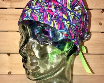 Scrub cap / Scrub hats / Women's scrub cap / surgical scrub hat / ponytail scrub cap / multicolor marble surgical cap / scrub cap for women