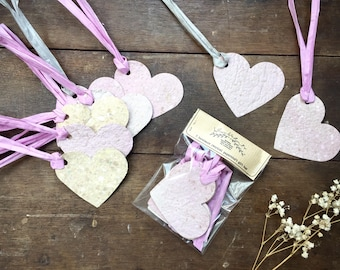 5 Handmade Paper Heart Gift Tags | Recycled Papercraft | Gift Wrapping | Tags | Labels | Eco Friendly | Presents