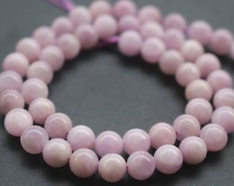 8mm AA Kunzite Beads,Natural Smooth and Round Spodumene Beads,15 inches one starand