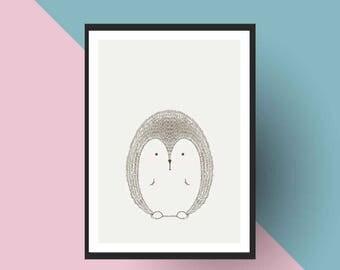 Nordic Print | PRINTABLE Scandinavian Porcupine - Nursery art