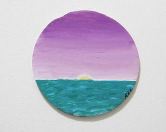 ORIGINAL Ocean Acrylic Painting - Wooden Canvas