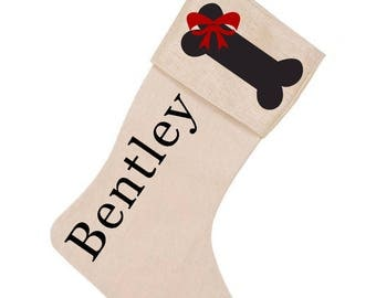 Burlap Dog Bone & Bow Christmas Stocking Custom