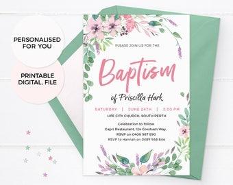 Floral Baptism Invitations, Girl Baptism Invites, Baby Dedication Invitation Floral Confirmation Invitation Printable Christening invitation