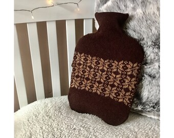 Chocolate Brown Fair Isle Design Hot Water Bottle Cover Knitted in Supersoft Lambswool