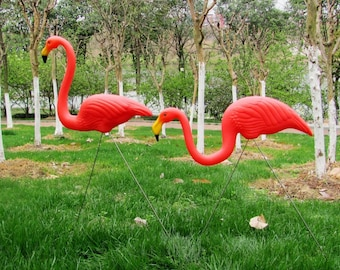 2 Watermelon Red Flamingo,wedding Ceremony Decoration,garden Yard And Lawn  Art Ornament