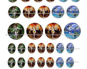 709 set - 40 Images Digital Fairy creations cabochons - sending by e-mail