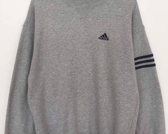 Rare!! Adidas Small Logo Spellout Embroidery Pullover Jumper Sweatshirt