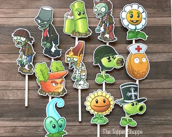 PLANTS VS ZOMBIES Cupcake Toppers / Cake Toppers / Die Cuts / Birthday Party / Decorations / Cake Pops / Supplies / Decor / Scrapbook
