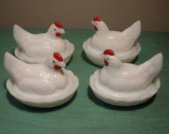 Lot of 4 Hen on Nest Covered Milk Glass Dishes