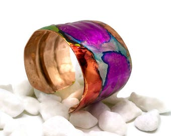Rainbow copper cuff, bracelet, colourful, hand forged, handmade, alcohol ink