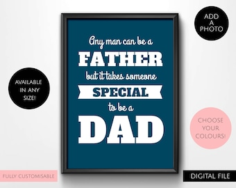 Digital Download Dad / Daddy / Father / Grandfather / Pop / Grandad / Grandpa / Poppy Typography Wall Art Print - Blue, Black, Gray, White
