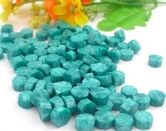 Sealing wax/wax seal 50 piece set blue/pearly green