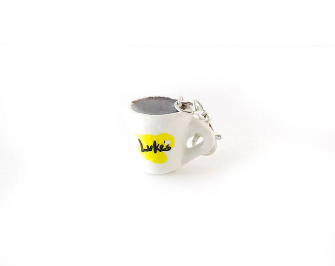 Luke's Coffee Cup, Miniature Food Jewelry , Gilmore Girl Inspired, Handmade Polymer Clay Food Charm, Zipper Pull, Braclet Charm