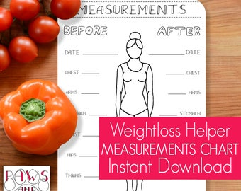 Weight Loss PRINTABLE • Bullet Journal Insert • Inches Lost Chart • Measurements Chart • Weight Loss Tracker • Planner Printable • Chart