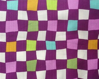 Japanese - Sevenberry - multicolor checkered purple - cotton fabric by 50cm (110 x)