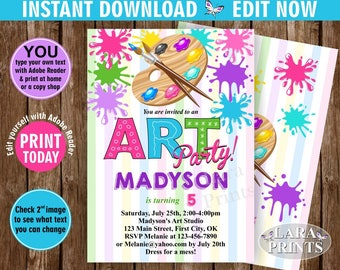 INSTANT DOWNLOAD / edit yourself now / Birthday / Invitation / Art / Party / invite / Pink / Teal / Purple / Girl / DIY / Printable BDPaint2