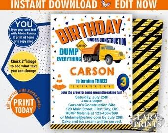 INSTANT DOWNLOAD / edit yourself now / Birthday Invitation / construction / truck / Invite / car / cars / boy / Blue Yellow Orange BDcar4