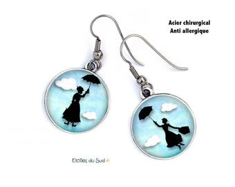 Earrings dissociated, Mary Poppins, surgical steel hooks, ref. H 382