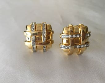 Gold tone with cubic zirconia clip on earrings