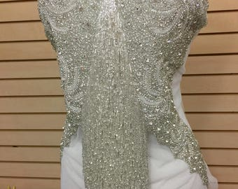 Designer Full body Rhinestone Applique, Beaded Wedding Dress Applique. Swarovski Shine Silver, Czech Crystal # 81195