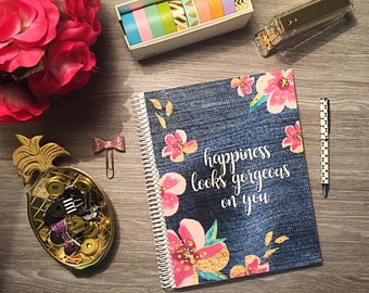12 MONTHS | Hourly Planner | Appointment Book - Denim Happiness  - 1 Year  2017-2018