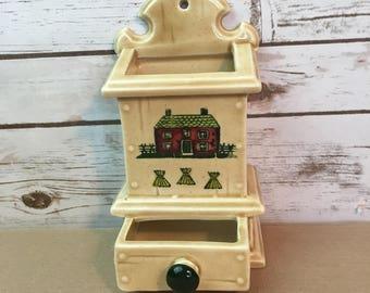 Vintage Metlox Poppytrail Homestead California Provential Match Box Holder Wall Ceramic Hanger Dispenser