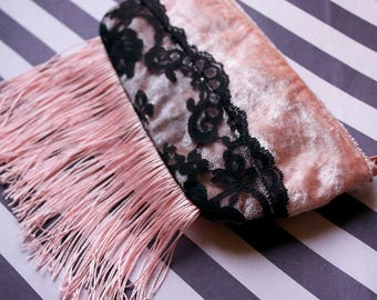 The Pink Flapper - one of a kind zipper fringe pouch - lined - lace velvet - peach pink black - burlesque queen- Handmade in USA