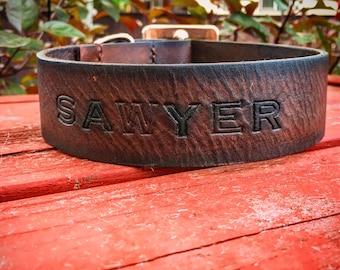 Custom Leather Dog Collar - Large