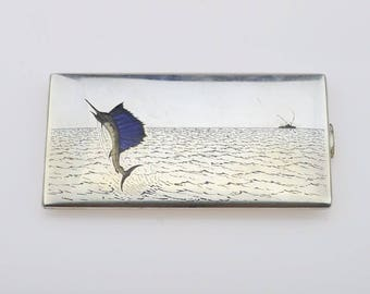 Sterling Silver 925 Blue Marlin Enameled Trophy Fish/off Shore Fishing Cigarette Case 218.8 Grams(01371)