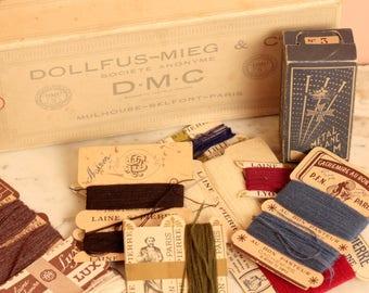 Haberdashery lot. DMC Antique cotton thread box and pins. Vintage packaging. Thread and fashion shop cards.