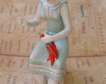 Large,Vintage Hollohaza porcelain pepper sewing lady,stamped,handpainted
