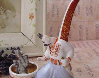 RARE VINTAGE USSR russian porcelain Figurine ,Cossack and the devil,pipe form,stamped.