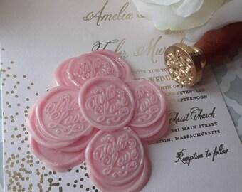 "Blush Chic Boho Rustic Barnyard Flourish With Love wedding party invitation self adhesive wax seal peel sticker 1"" 5 pieces"