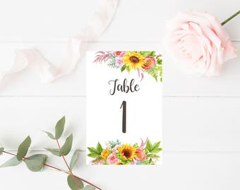 Watercolor Sunflowers Table Numbers 1-20 - Wedding Table Numbers - Printable Table Signs - Floral Wedding Decor - 4x6 - Party Printables